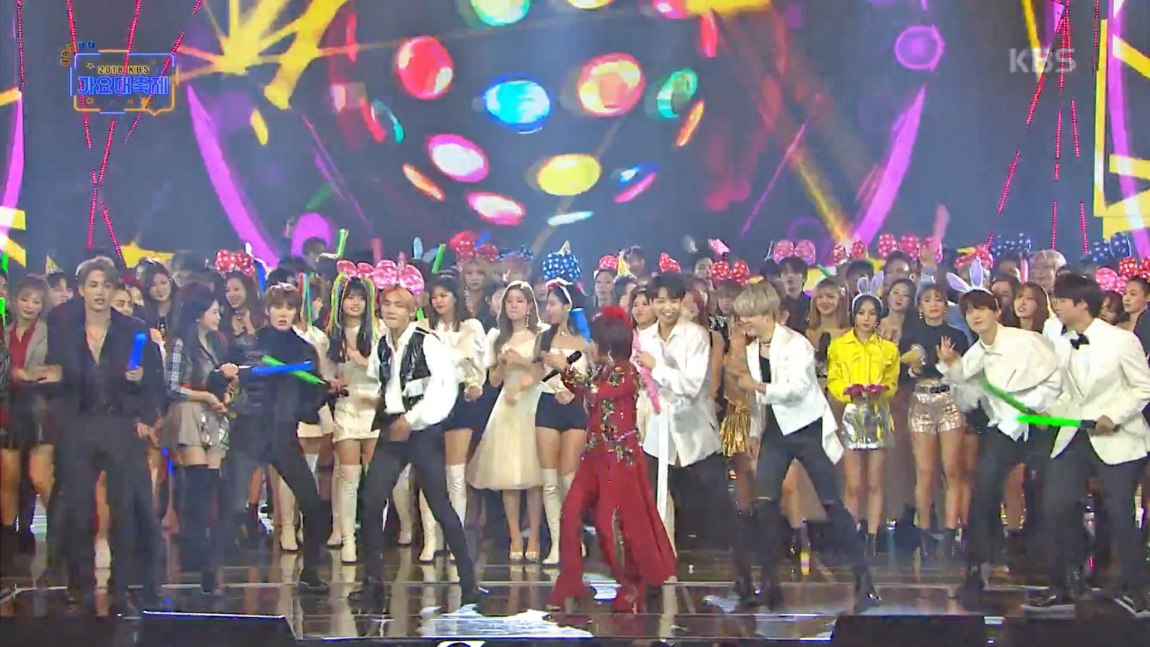 BTS became backup dancers for Kim Yeon Ja's Amor Fati on the final stage of the 2018 KBS Song Festival