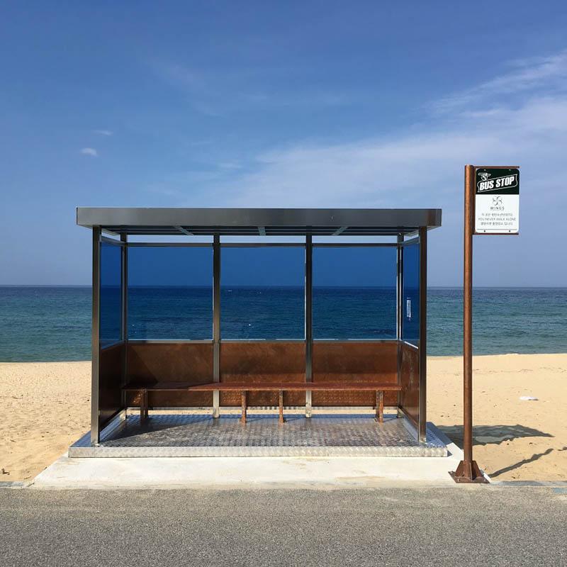 "Jumunjin Beach Bus Stop - How to go BTS ""You Never Walk Alone"" album cover location"