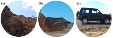 Las escombreras de la mina (a) se están triturando para hacer áridos y gravas (b) para la construcción de carreteras (c).