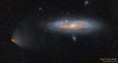 Abril de 2013: El cometa Panstarrs pasa casi por delante de la galaxia de Andrómeda.