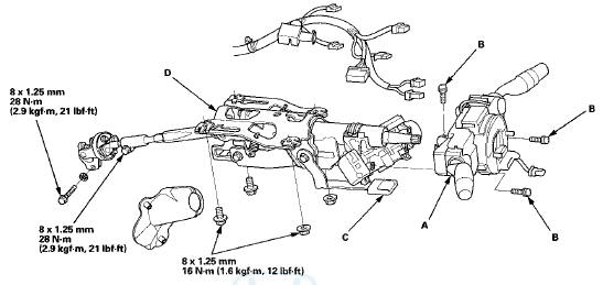 Honda Accord: Steering Column Removal and Installation