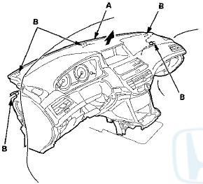 Honda Accord: Dashboard/Steering Hanger Beam Removal