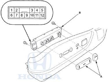 Honda Accord: Power Seat Adjustment Switch Test