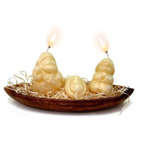 Tutorial para hacer velas de Navidad con forma de portal de Belén