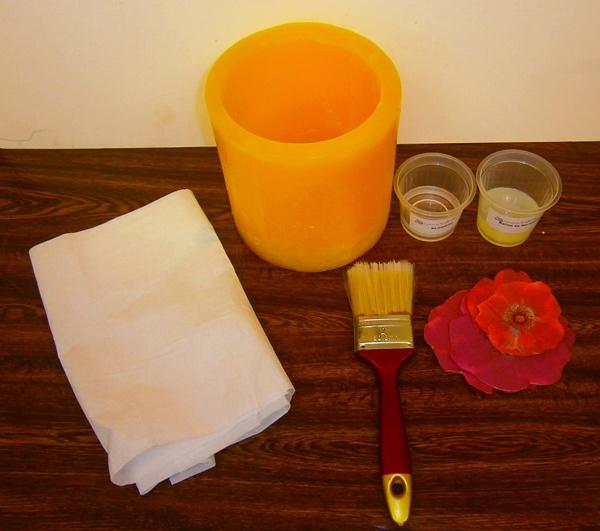 Materielas para hacer fanal con flores decoupage
