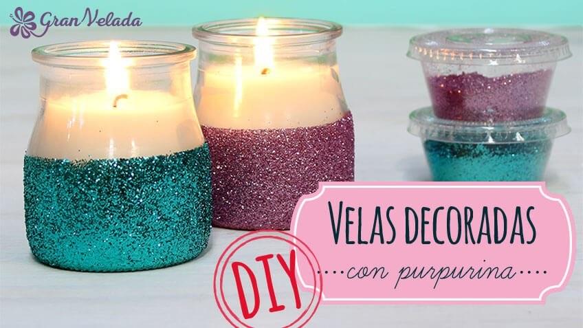 Paso a paso para decorar velas con purpurina