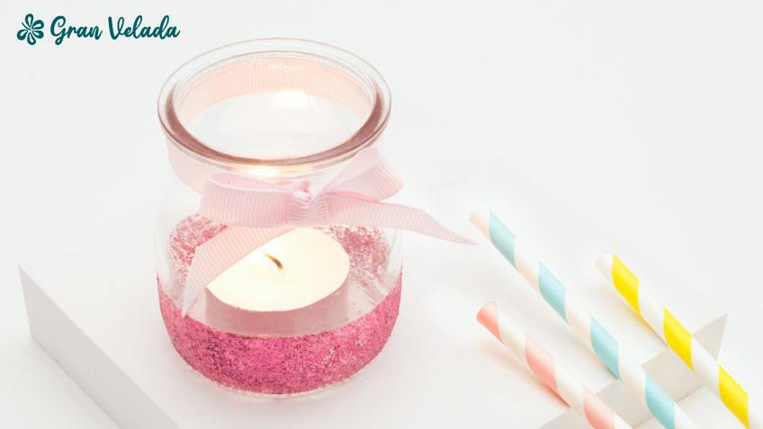 como decorar botes de cristal para velas