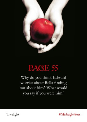 Shareable Twilight Readalong asset: Page 55 Why do you think Edward worries about Bella finding out about him? What would you say if you were him?