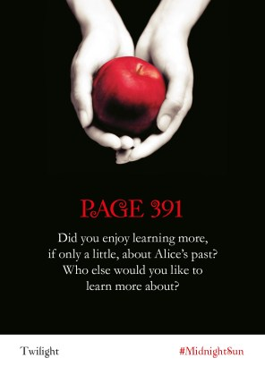 Twilight Readalong: Page 391 Did you enjoy learning more, if only a little, about Alice's past? Who else would you like to learn more about?