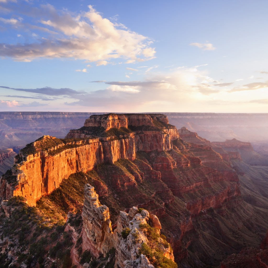 aerial shot of north rim of the grand canyon