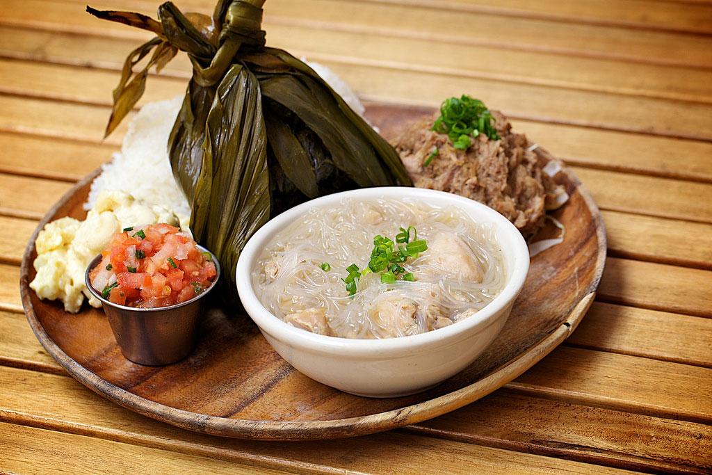 Hawaiian laulau on a lunch plate