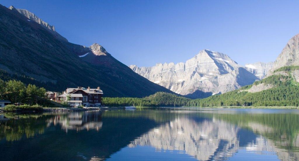 tranquil mountain lake scene in glacier national park