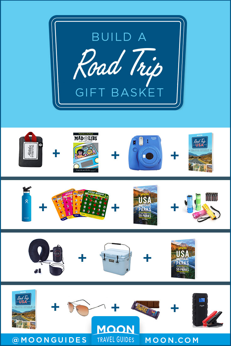 road trip gift basket pinterest graphic