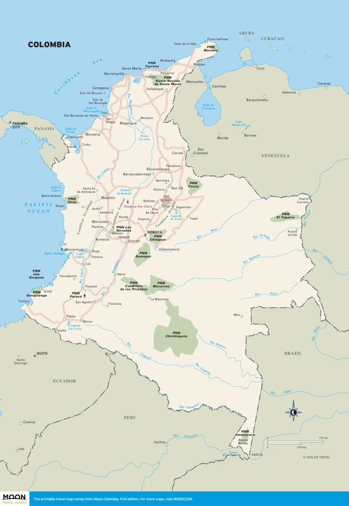 Travel map of Colombia