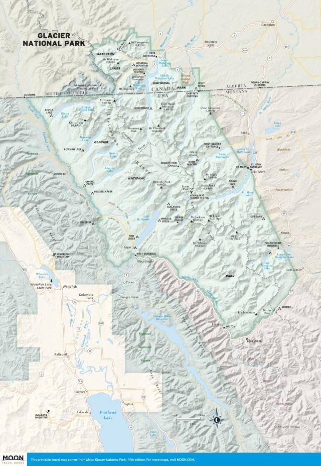 Travel map of Glacier National Park