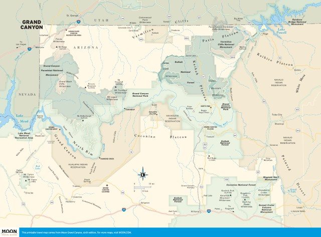 Travel map of the Grand Canyon