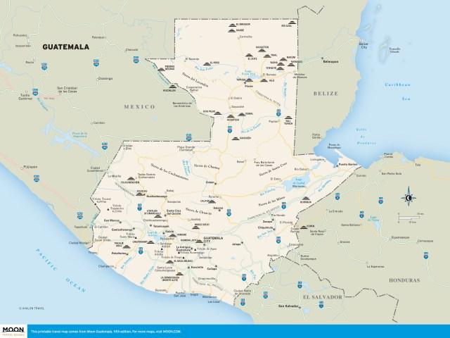 Travel map of Guatemala