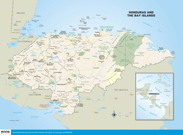Color travel map of Honduras