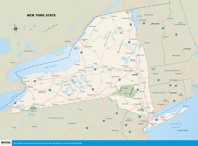 Travel map of New York State.
