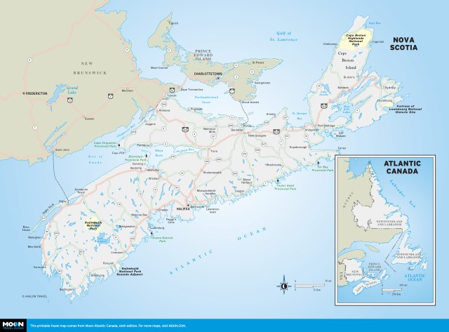 Travel map of Nova Scotia