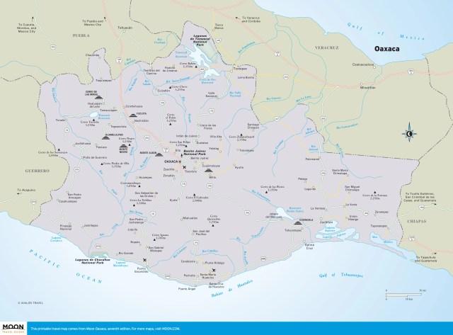 Travel map of Oaxaca, Mexico