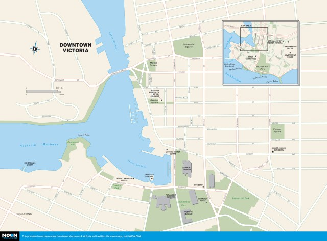 Color map of Downtown Victoria, BC