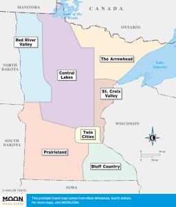 Minnesota travel maps by region.