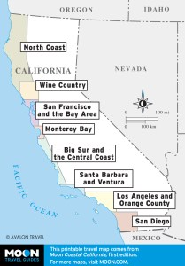 Regional overview of Coastal California travel maps