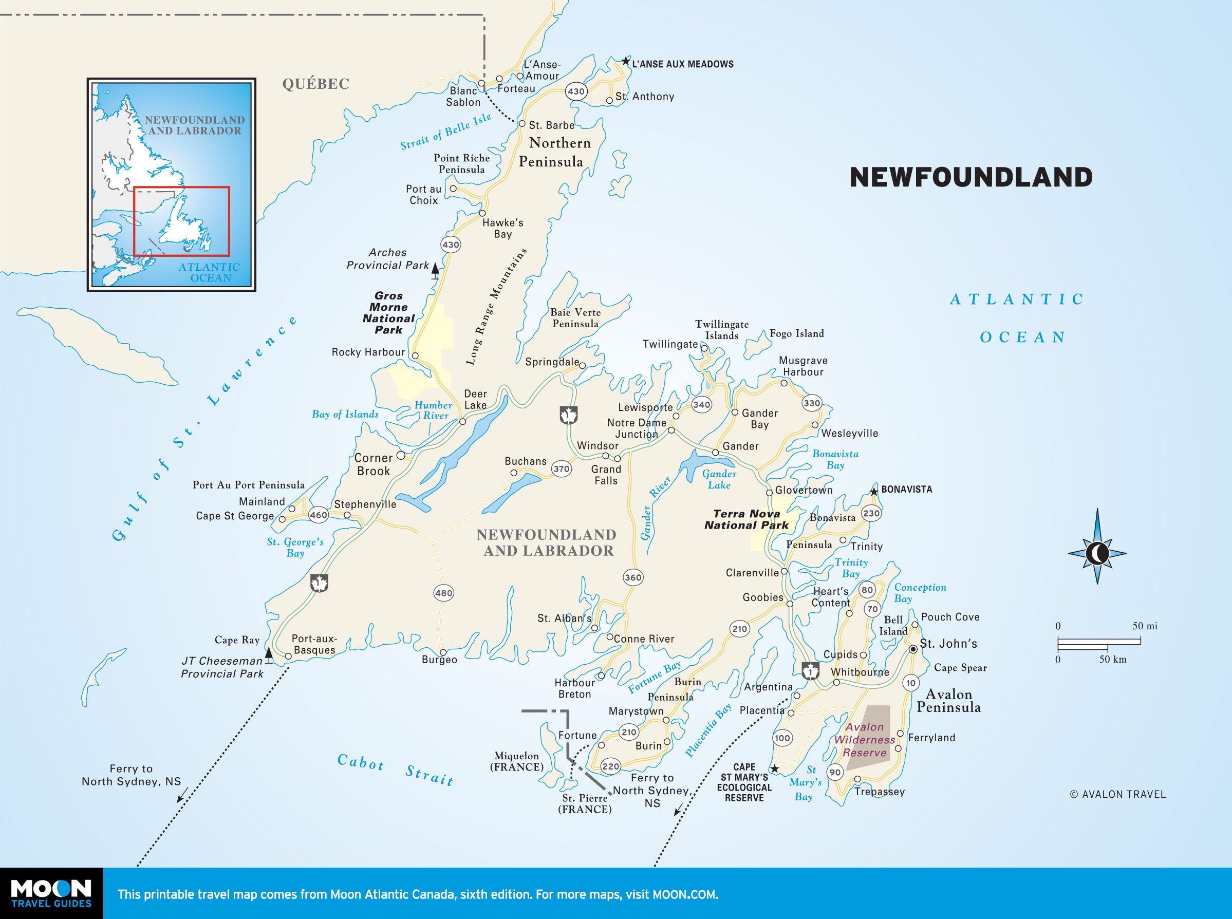Road Map Newfoundland Canada Atlantic Canada | Moon Travel Guides