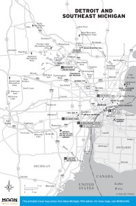 Travel map of Detroit and Southeast Michigan