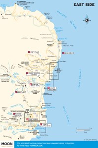 Travel map of the East Side Kaua'i, Hawaii.