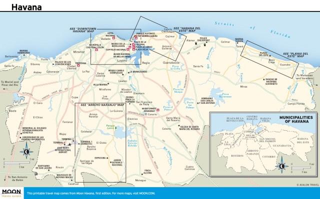 Travel map of Havana in Cuba