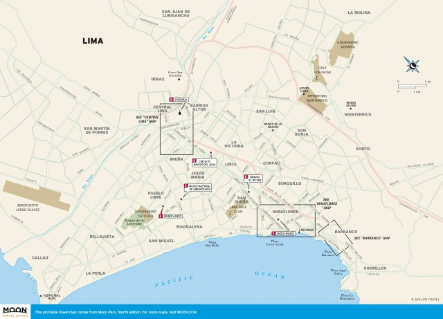 Color travel map of Lima, Peru