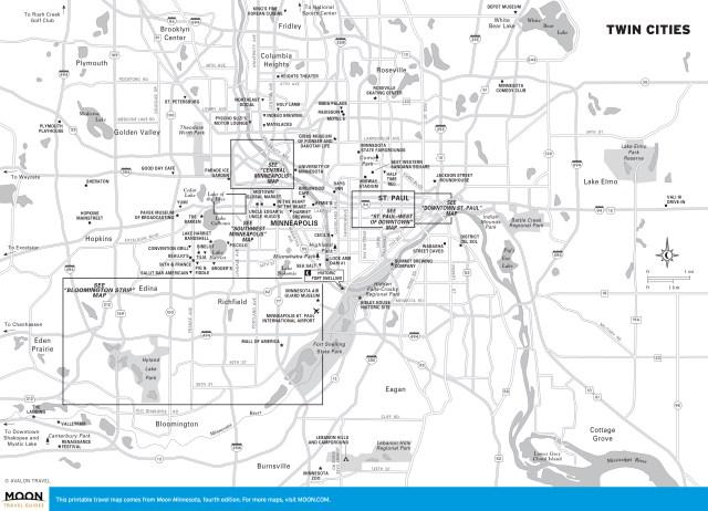 Travel map of Twin Cities, Minnesota
