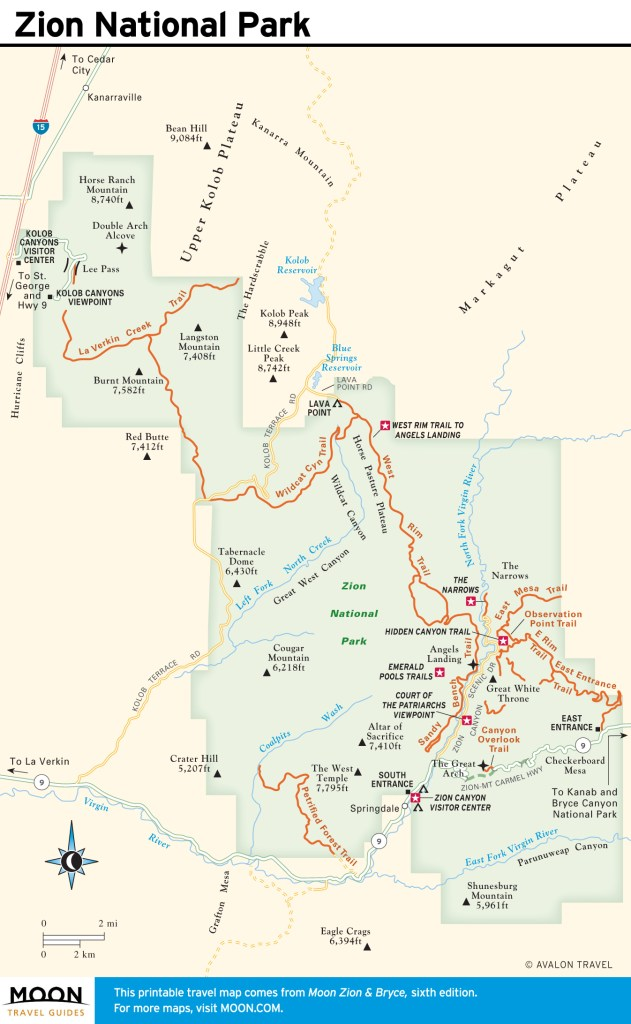 Travel map of Zion National Park, Utah