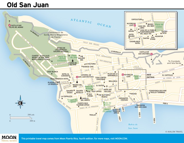 Travel map of Old San Juan, Puerto Rico