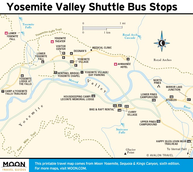 Map of Yosemite Valley Shuttle Bus Stops