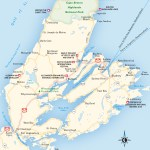 Travel map of Cape Breton Island, Nova Scotia