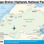 Travel map of Cape Breton Highlands National Park, Nova Scotia