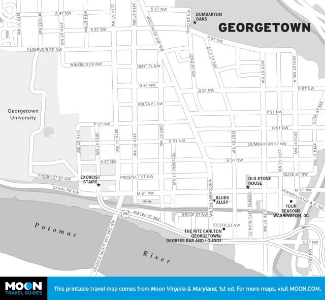 Map of Georgetown, Washington DC