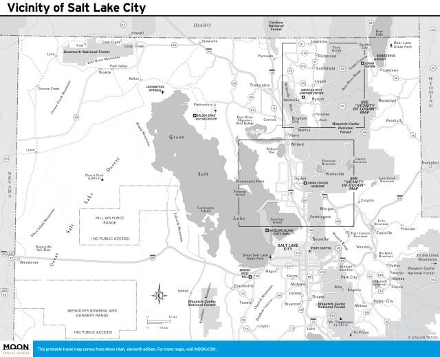 Travel map of Vicinity of Salt Lake City, Utah