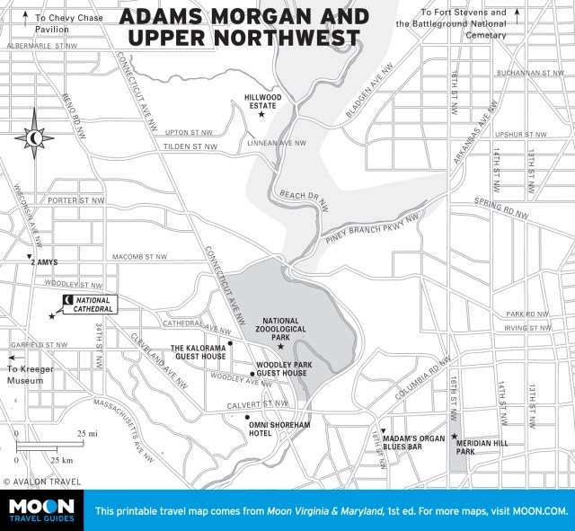 Map of Adams Morgan and Upper Northwest in Washington DC