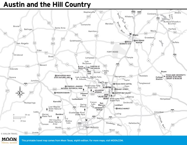 Travel map of Austin and the Hill Country in Texas