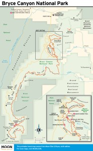 Travel map of Bryce Canyon National Park in Utah