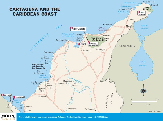 Travel map of Cartagena and the Caribbean Coast of Colombia