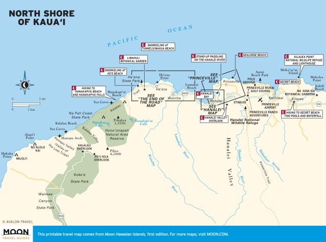 Travel map of North Shore of Kaua'i, Hawaii