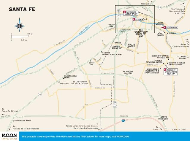 Travel map of Santa Fe, New Mexico