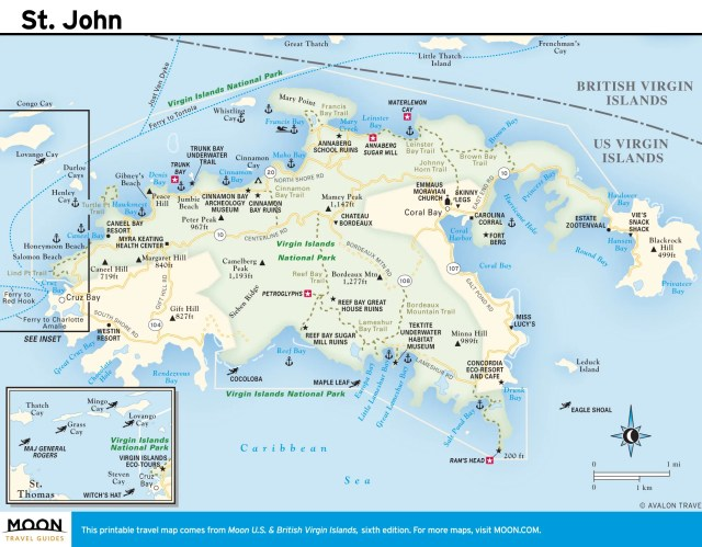 Travel map of St. John, Virgin Islands