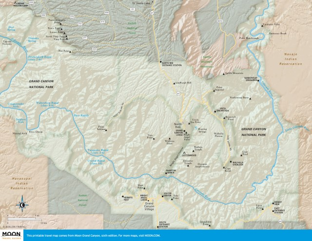 Travel map of the North Rim of the Grand Canyon