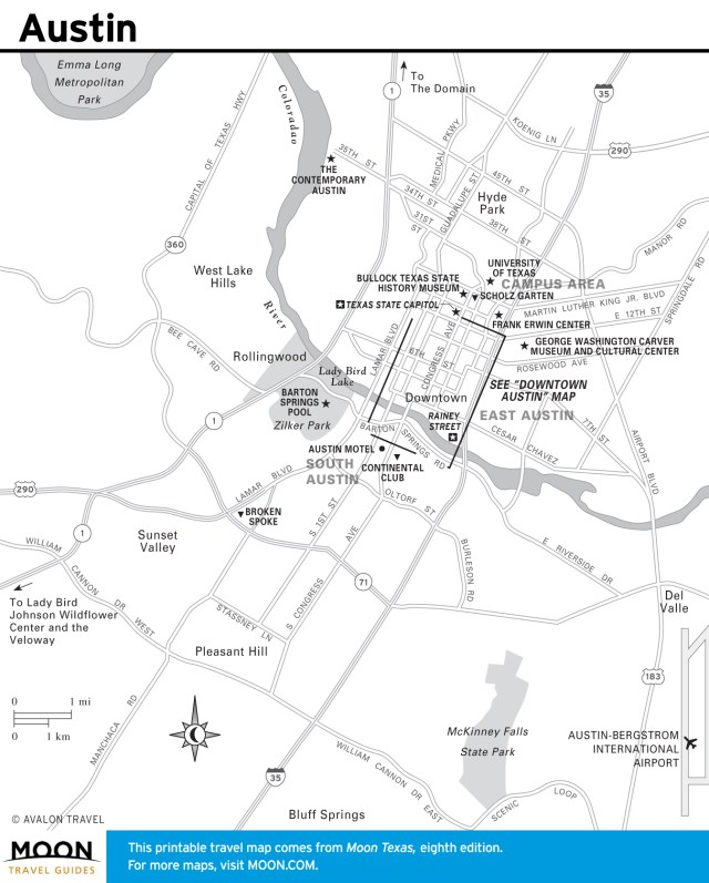 Travel map of Austin, Texas